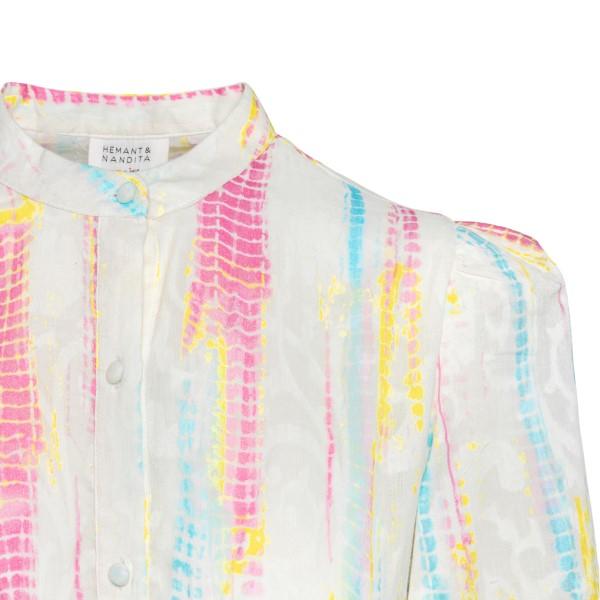 Short white dress with multicolored details                                                                                                            HEMANT & NANDITA