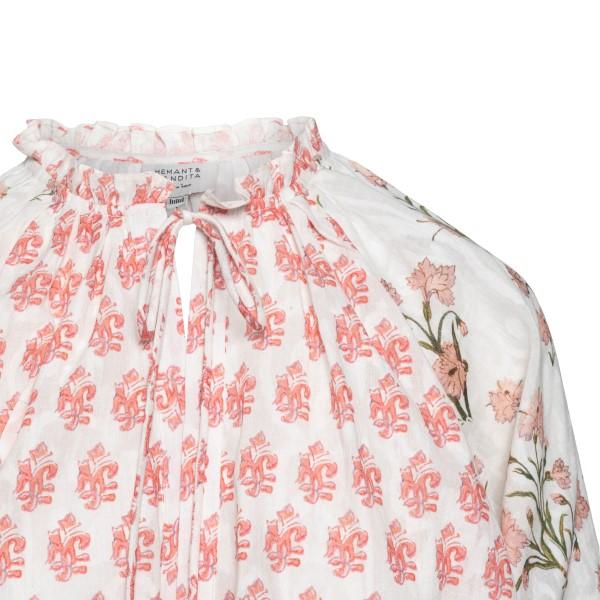 Long white dress with floral print                                                                                                                     HEMANT & NANDITA