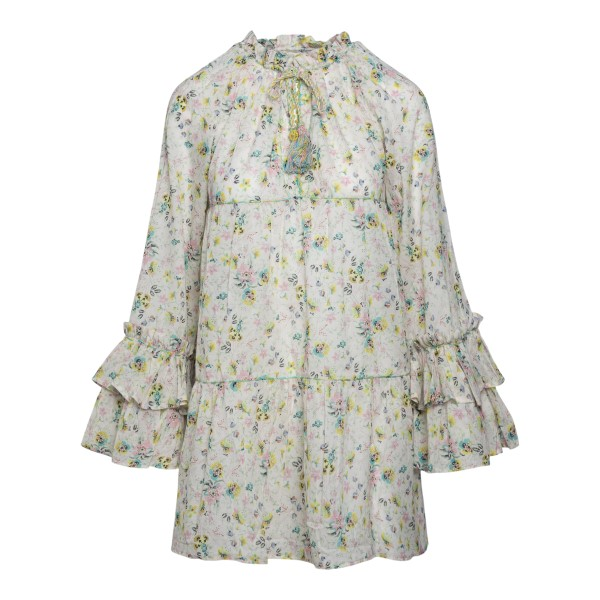 Short white floral dress with flounces                                                                                                                Anjuna LARA back