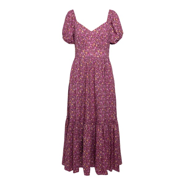Long fuchsia dress with floral print                                                                                                                  Love shack fancy LD344763 front