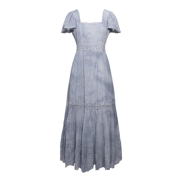 Long dress with embroidery in denim blue                                                                                                              Love Shack Fancy LD717548H back