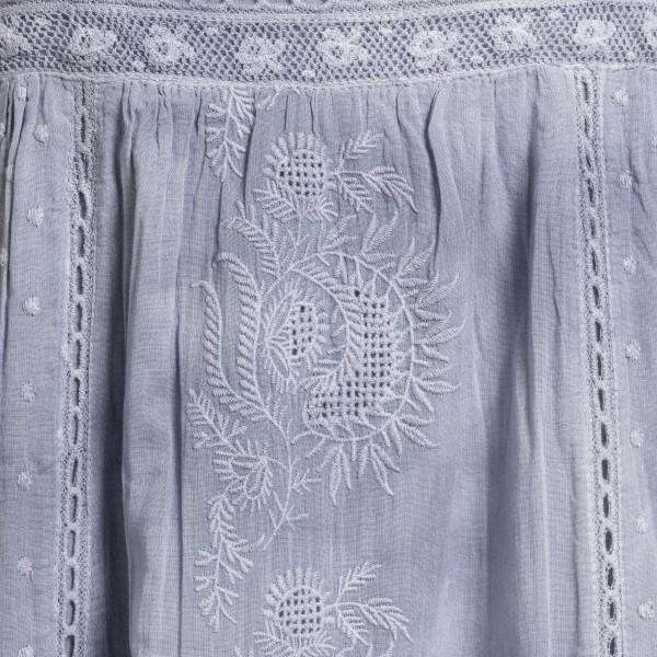 Long dress with embroidery in denim blue                                                                                                               LOVE SHACK FANCY