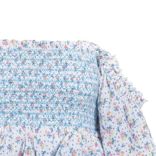 White and blue mini dress                                                                                                                              LOVE SHACK FANCY