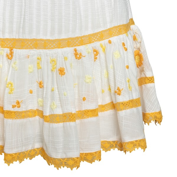White mini skirt with yellow embroidery                                                                                                                LOVE SHACK FANCY