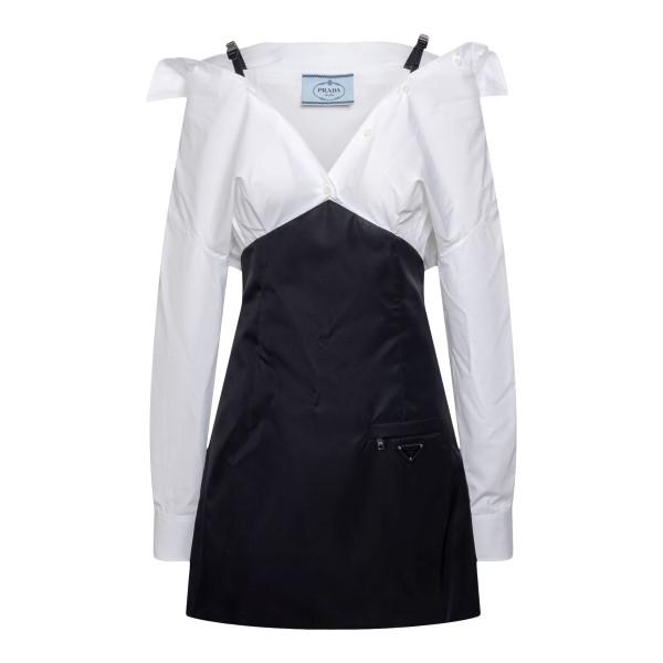 Short black and white V-neck dress                                                                                                                     PRADA