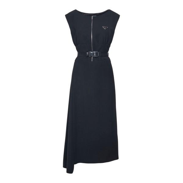 Black midi dress with belt                                                                                                                             PRADA