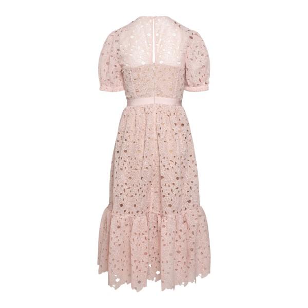 Pink floral lace midi dress                                                                                                                            SELF PORTRAIT