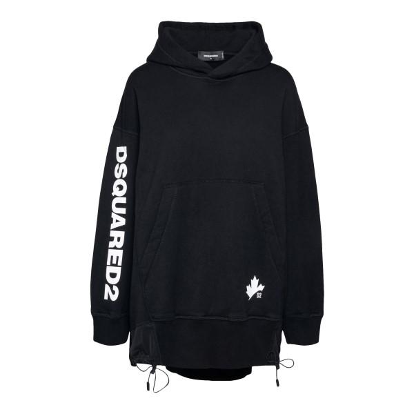 Black sweatshirt dress with logo print                                                                                                                 DSQUARED2