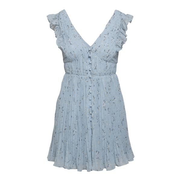 Short blue pleated dress with flowers                                                                                                                 Self Portrait SS21036S back