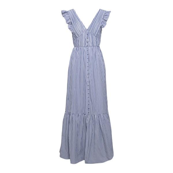 Long blue striped dress with ruffles                                                                                                                  Self Portrait SS21036A back