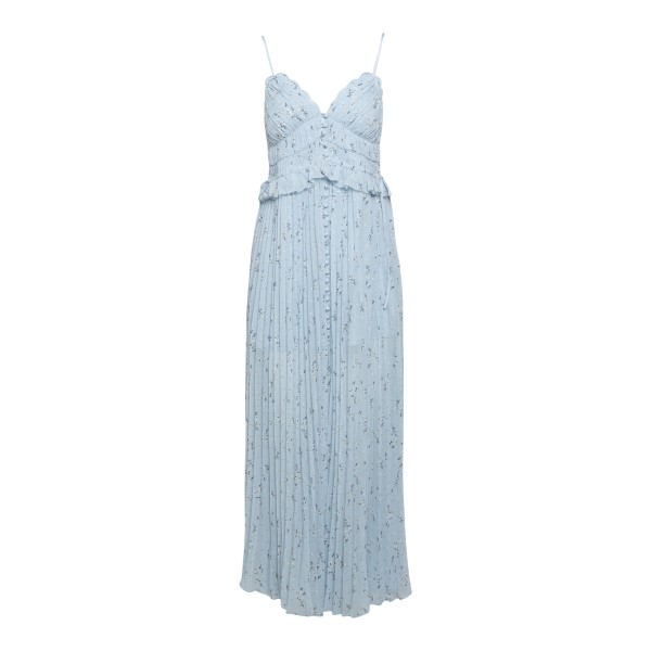 Long blue dress with pleated flowers                                                                                                                  Self Portrait SS21079M back