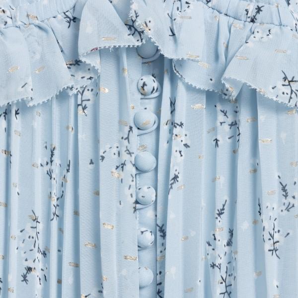 Long blue dress with pleated flowers                                                                                                                   SELF PORTRAIT