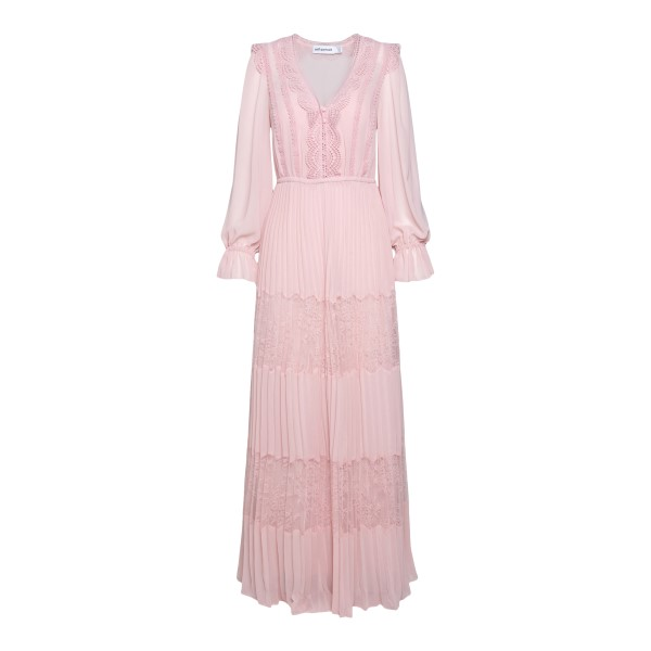 Long pink dress with lace embroidery                                                                                                                  Self Portrait SS21080 back