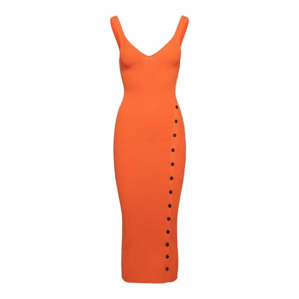 Long orange fitted dress                                                                                                                              Self Portrait SS21090 back
