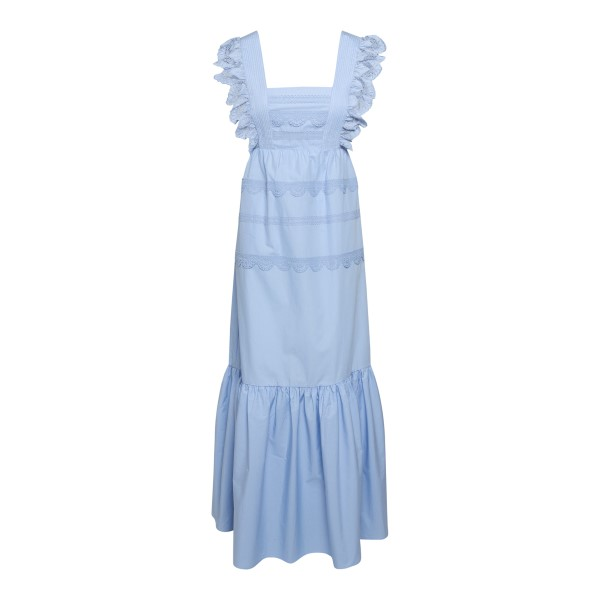 Long blue dress with embroidery                                                                                                                       Self Portrait SS21100 back