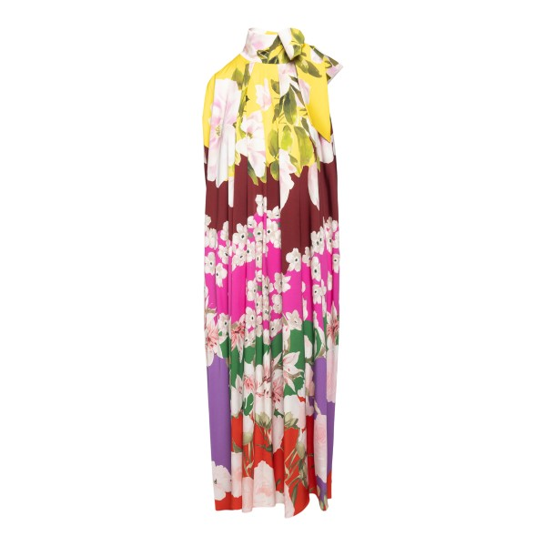 Long multicolored dress with floral pattern                                                                                                           Valentino VB0VAUW6 back