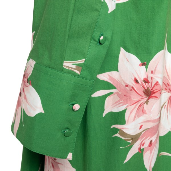 Long green flared dress with flowers                                                                                                                   VALENTINO