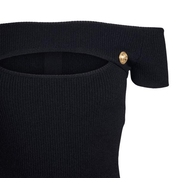 Black ribbed midi dress                                                                                                                                BALMAIN
