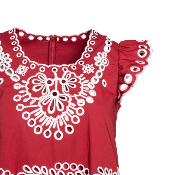 Cherry midi dress with cut-out details                                                                                                                 RED VALENTINO