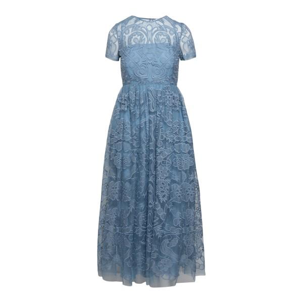 Light blue midi dress with lace embroidery                                                                                                             RED VALENTINO