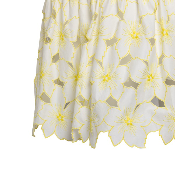 Short white dress with floral embroidery                                                                                                               RED VALENTINO