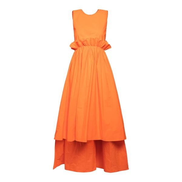 Orange midi dress with asymmetrical hem                                                                                                               Red Valentino VR0VAAW5 back