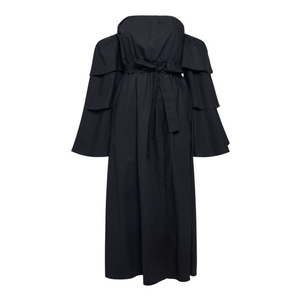 Black midi dress with bare shoulders                                                                                                                   RED VALENTINO