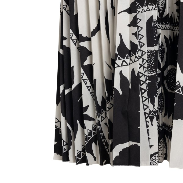 Patterned midi dress with pleats                                                                                                                       RED VALENTINO