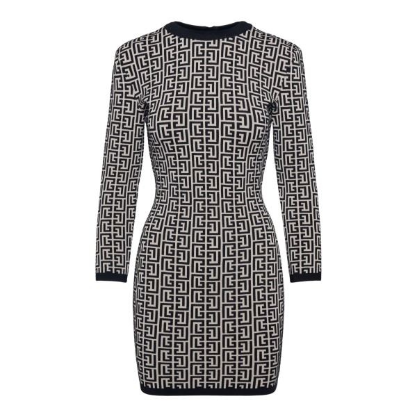 Short dress with geometric pattern                                                                                                                    Balmain WF1R8072K253 back
