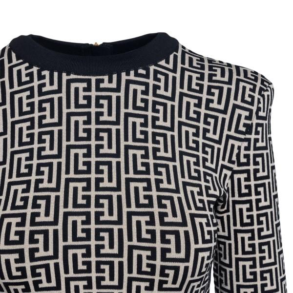 Short dress with geometric pattern                                                                                                                     BALMAIN