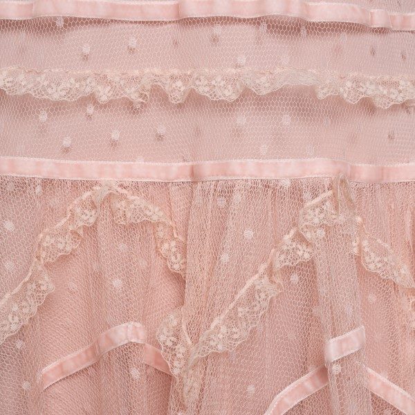 Semi-transparent pink short dress with lace                                                                                                            RED VALENTINO