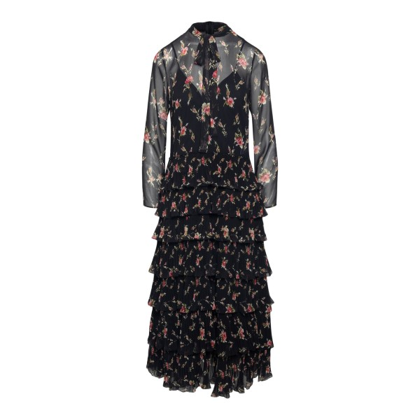 Long semitransparent black dress with flowers                                                                                                          RED VALENTINO