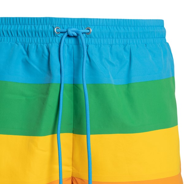 Multicolored striped swimsuit with logo                                                                                                                LACOSTE L!VE