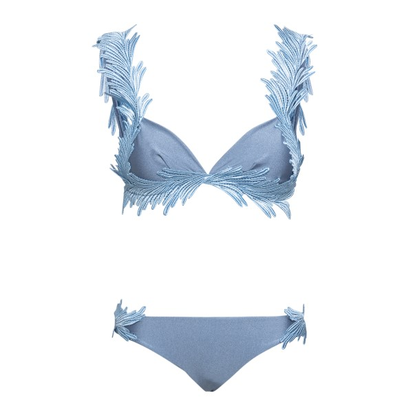 Light blue costume with feather embroidery                                                                                                            Clara aestas ANGELBIKINI front