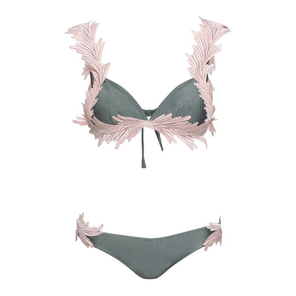 Grey costume with feathers embroidery                                                                                                                 Clara aestas ANGELBIKINI front