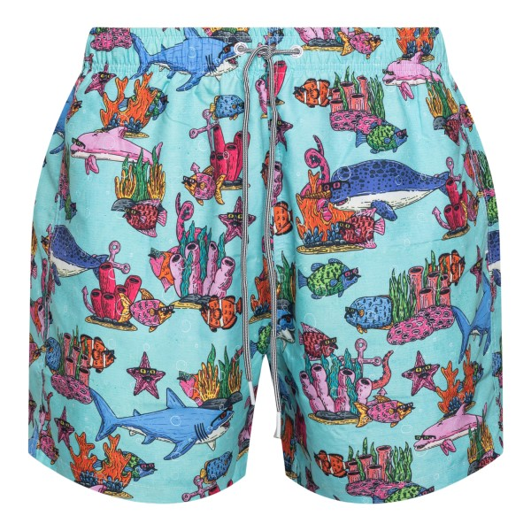 Light blue costume with fish illustrations                                                                                                            Boardies                                           BSMUL72MID back