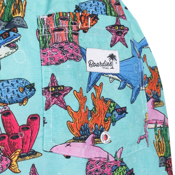 Light blue costume with fish illustrations                                                                                                             BOARDIES