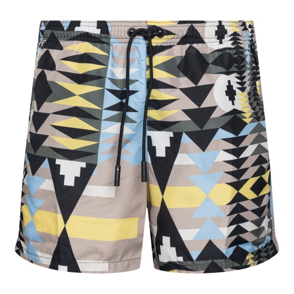 Multicolored swimsuit with geometric print                                                                                                            Marcelo Burlon CMFA003S21FAB003 front