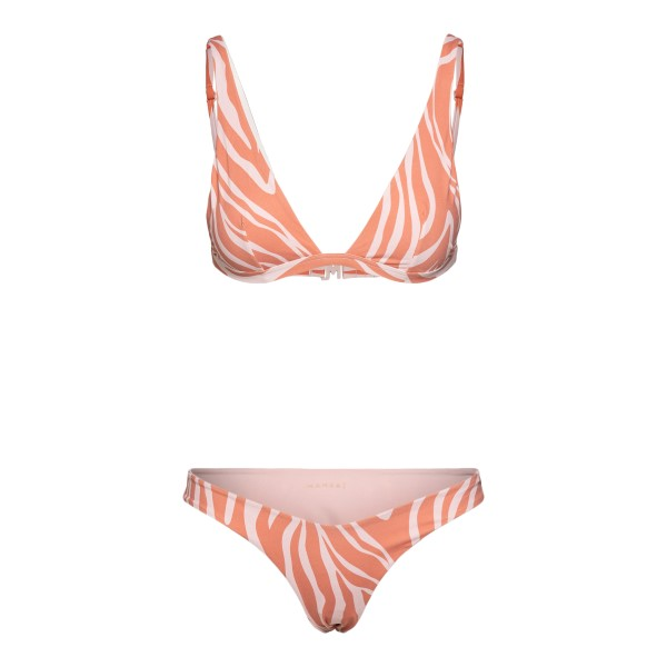 Salmon pink zebra bikini set                                                                                                                          Manebi D68HTWBW0000 back