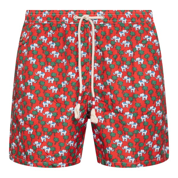 Red costume with palm trees and elephants                                                                                                             Saint Barth ELEPHANTPALM front
