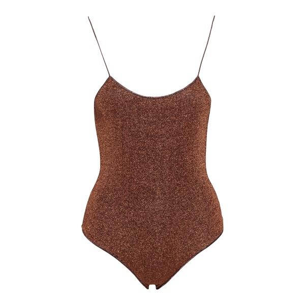 Brown lurex one-piece swimsuit                                                                                                                        Oseree Swimwear LIS601 back