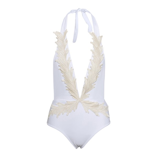 White one-piece swimsuit with feather embroid                                                                                                         Clara aestas PHOENIX front