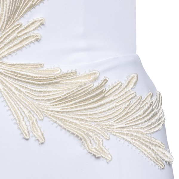 White one-piece swimsuit with feather embroid                                                                                                          CLARA AESTAS
