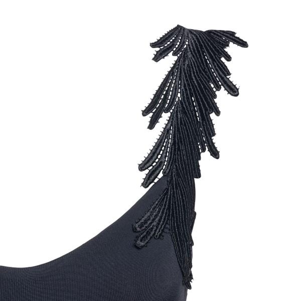 Costume intero nero con applicazione a piuma                                                                                                           CLARA AESTAS                                       CLARA AESTAS