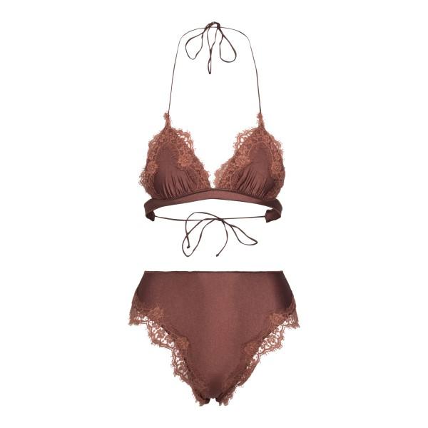 High waisted brown bikini set                                                                                                                         Oseree Swimwear TMS904 back