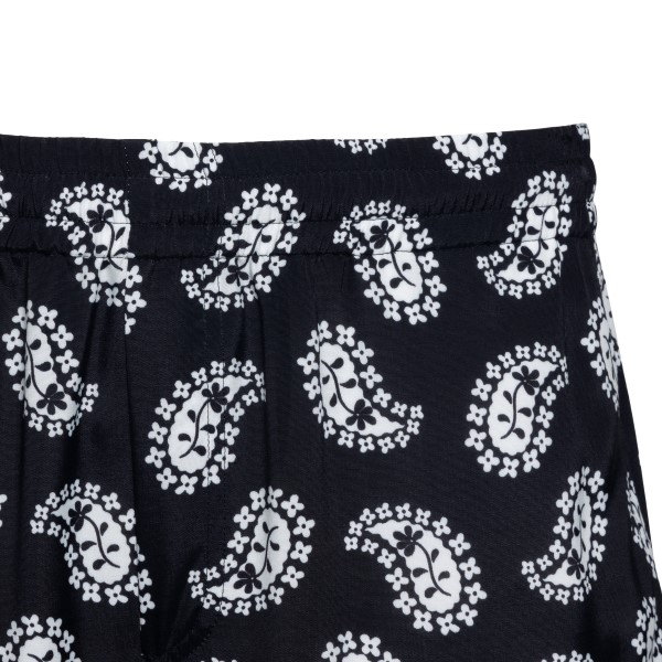 Black bermuda shorts with paisley print                                                                                                                MSGM