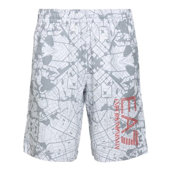 Pantaloncini sportivi grigi con stampa                                                                                                                Ea7 3KPS63 retro