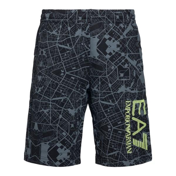 Pantaloni sportivi neri con stampa grafica                                                                                                            Ea7 3KPS63 retro