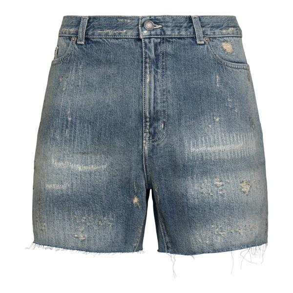 Pantaloncini in denim a effetto vissuto                                                                                                               Saint Laurent 643542 retro