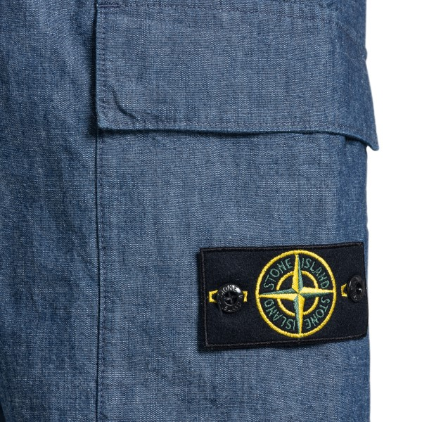 Blue denim bermuda shorts with logo patch                                                                                                              STONE ISLAND